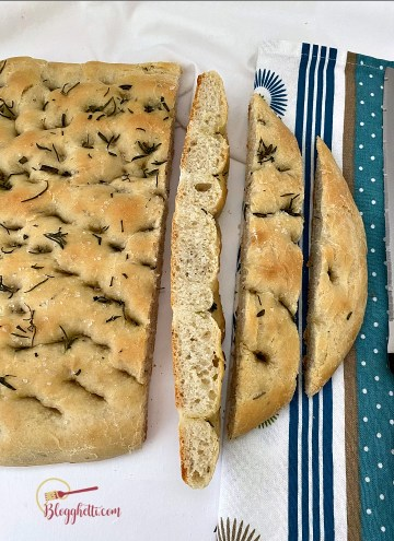sliced rosemary focaccia bread