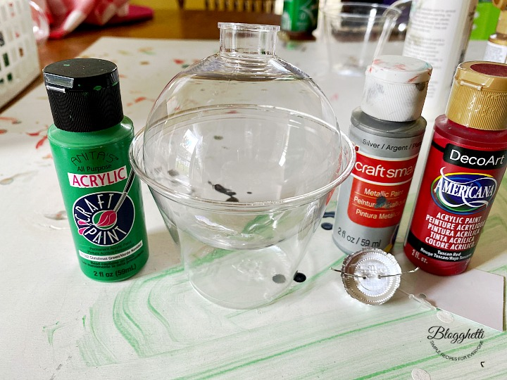 supplies needed for Pour painted ornament