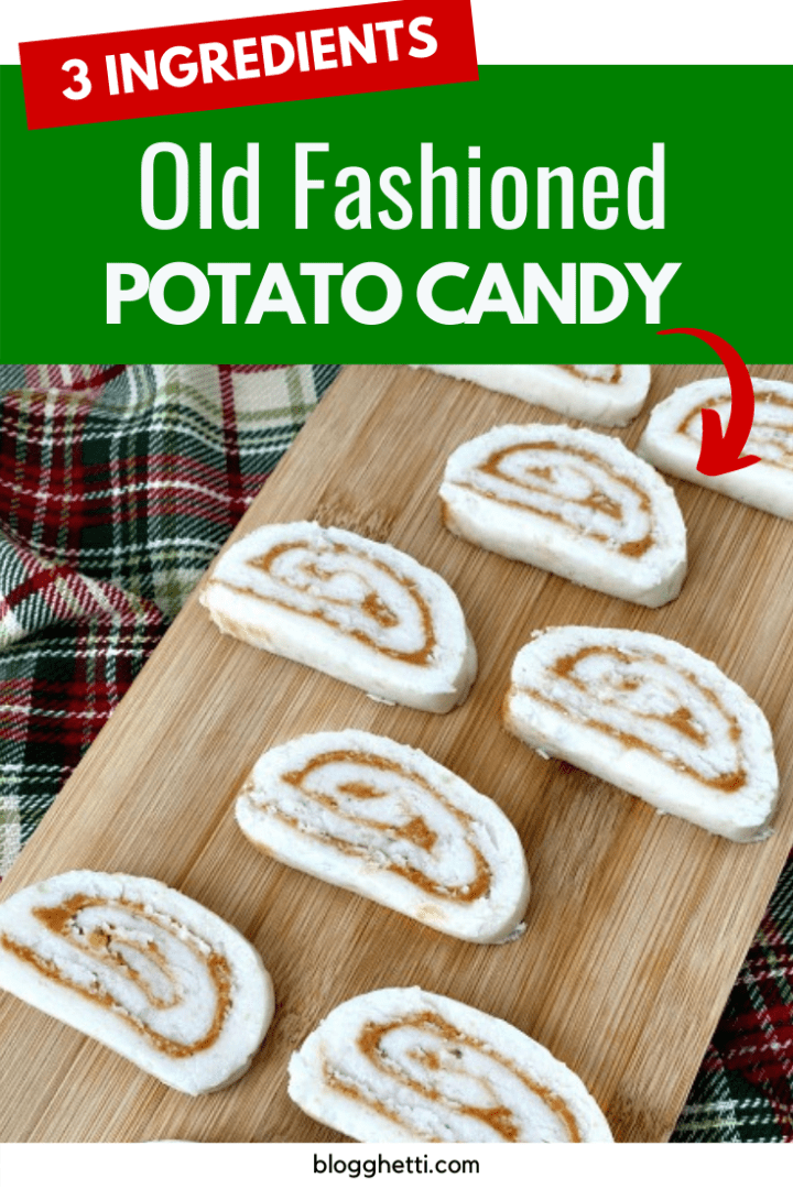 3 ingredient old fashioned potato candy with text overlay