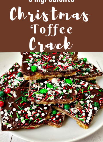 5 ingredient Christmas Toffee Crack with text overlay