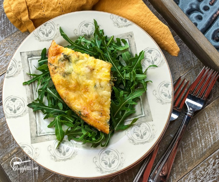 Sweet Potato Frittata on white and gray plate