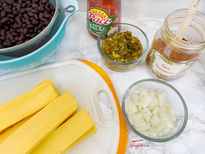 ingredients for slow cooker vegetarian cheese dip