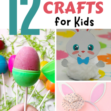 collage of Easter kids crafts with text overlay