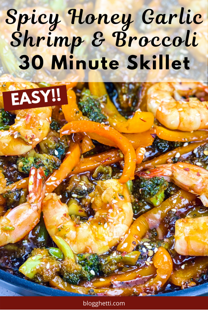 Spicy Honey Garlic Shrimp and Broccoli Skillet - with text overlay