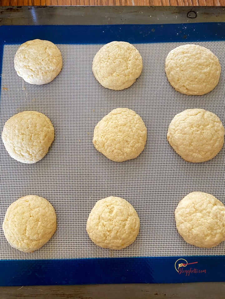 baked lemon cookies on baking sheet