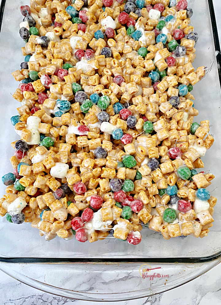 cereal treats in glass pan