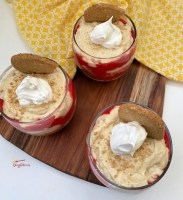 close up of coffee dessert - raspberry almond coffee parfaits