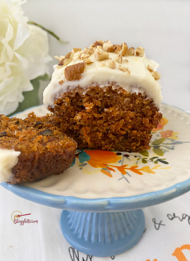 sliced mini carrot cake with cream cheese frosting