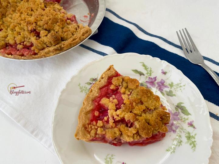 strawberry-rhubarb pie on plate