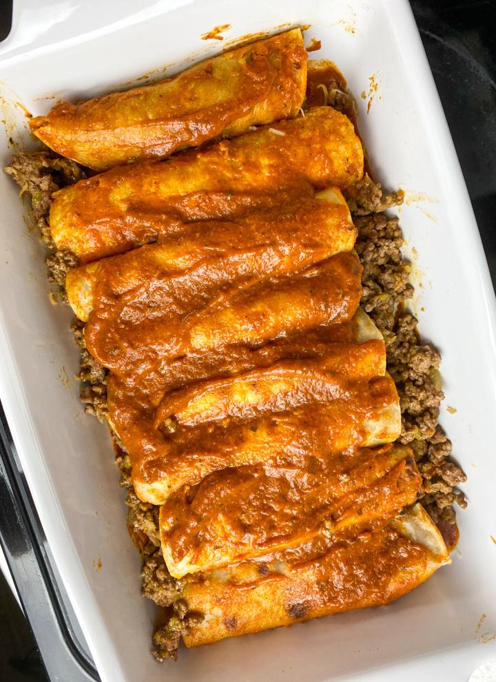 beef enchiladas in baking pan