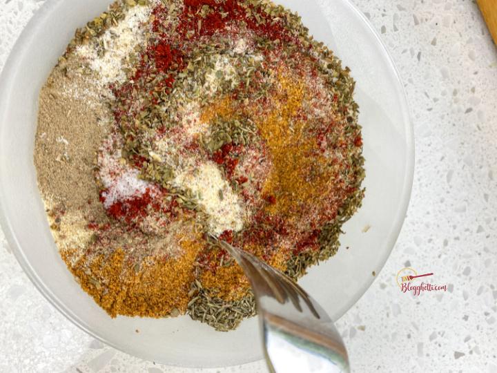 mixing the cajun spice