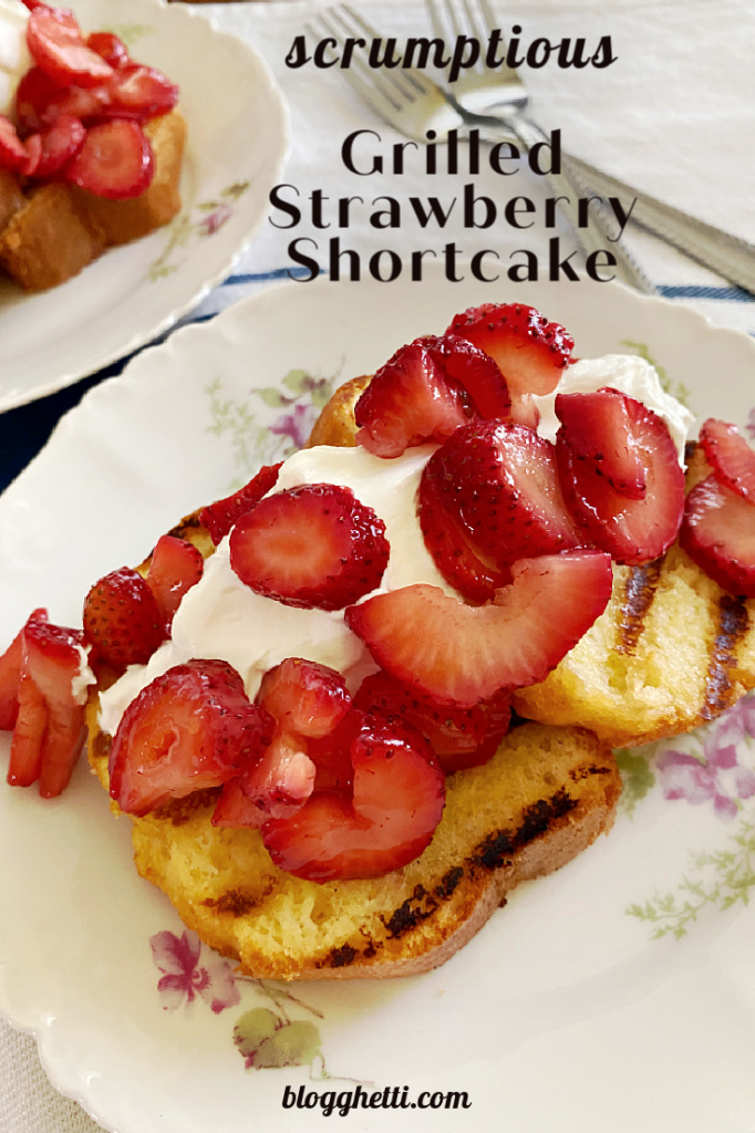 easy grilled strawberry shortcake with text overlay