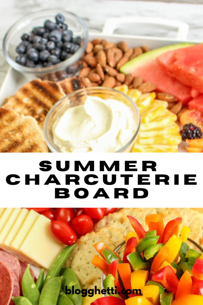 summer charcuterie board with text overlay for pinterest