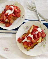 two plates of grilled strawberry shortcakes