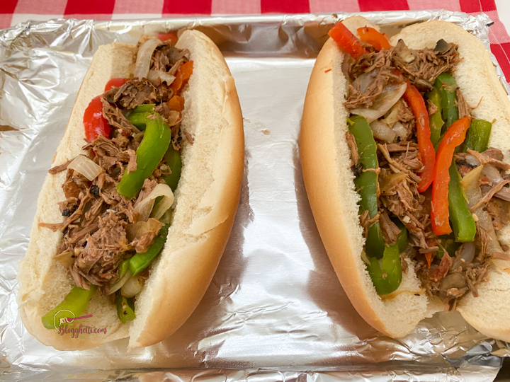 assembling philly sandwiches