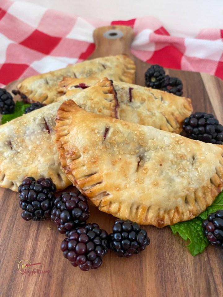 air fryer blackberry hand pies close up