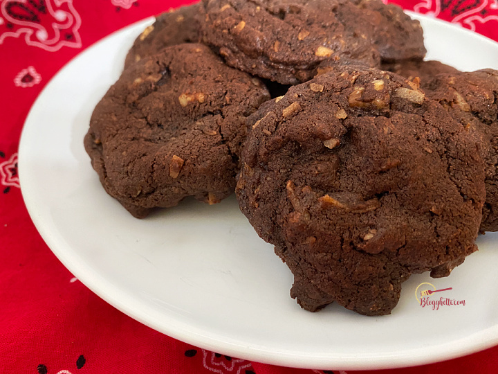 German chocolate cookies on white plate