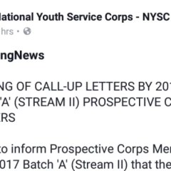 """Printing Of Call-Up Letters By 2017 Batch """"A"""" (Stream II) Prospective Corps Members"""