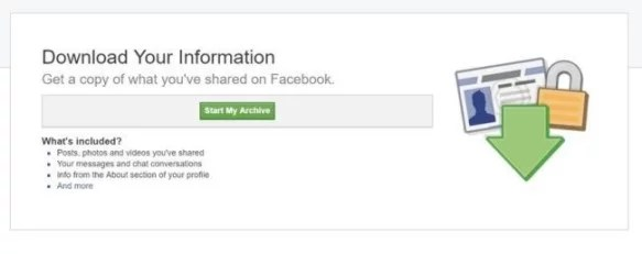 Downloading your Facebook Information and data