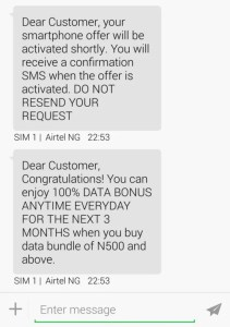 Airtel Double Data SMS Notification with Infinix Smartphone