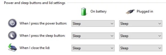 Closing the lid settings in Windows 10 laptop
