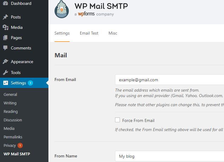 wp mail smtp einstellungen