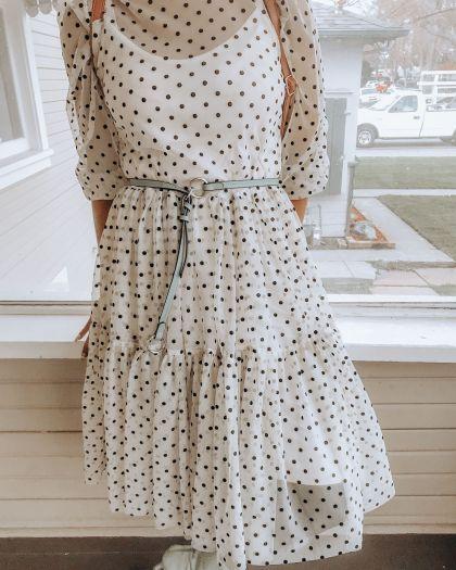 Flock-Print Mesh Dress - in white/beige