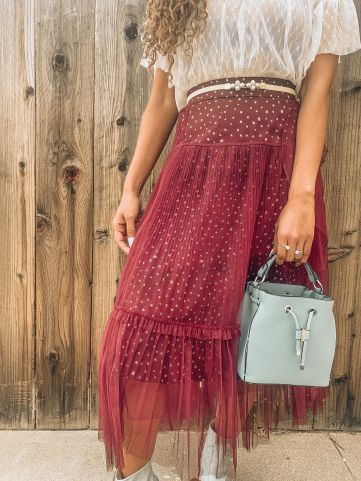 Spring Transition Polka Dot Maxi Skirt