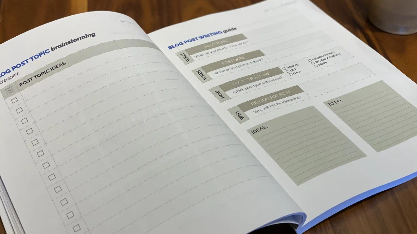 Your new Blog Planner includes terrific worksheets for brainstorming blog posts.