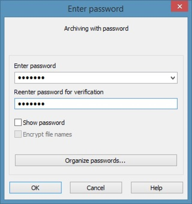 WinRAR to password protect Window 8