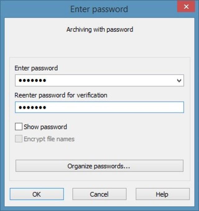 WinRAR to password protect Window 8