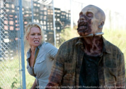 Andrea and a zombie from The Walking Dead Season 3 Episode 12