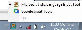 Google Input Tool & Microsoft Indic Language Tool