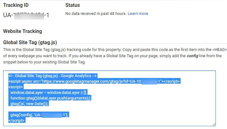 Copy GA Code