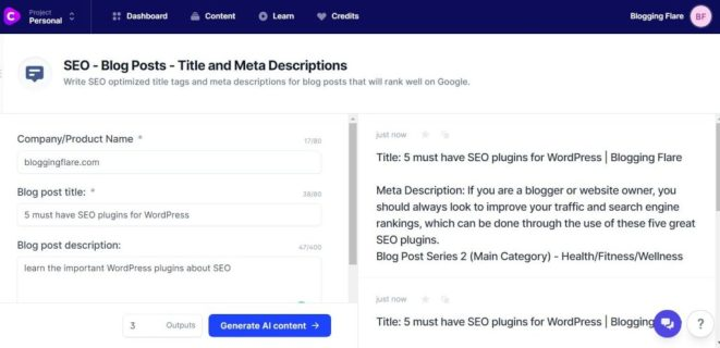 jarvis.ai review: SEO - Blog - title and meta description template