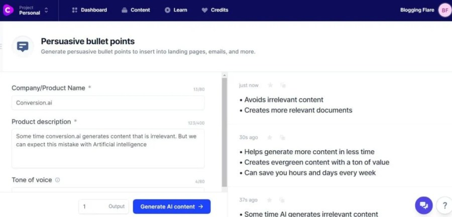 jarvis.ai: persuasive bullet points template