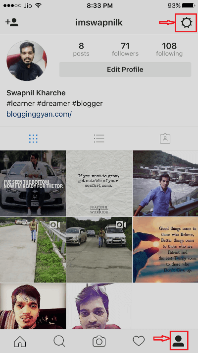 Tap on gear icon in Instagram