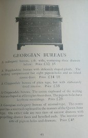 Photograph of Georgian bureaus advertised in the Old English Furniture catalogue