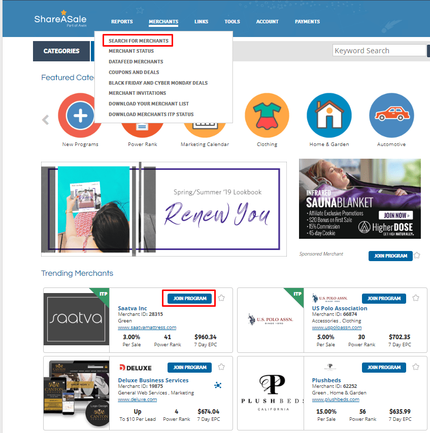 ShareASale search product