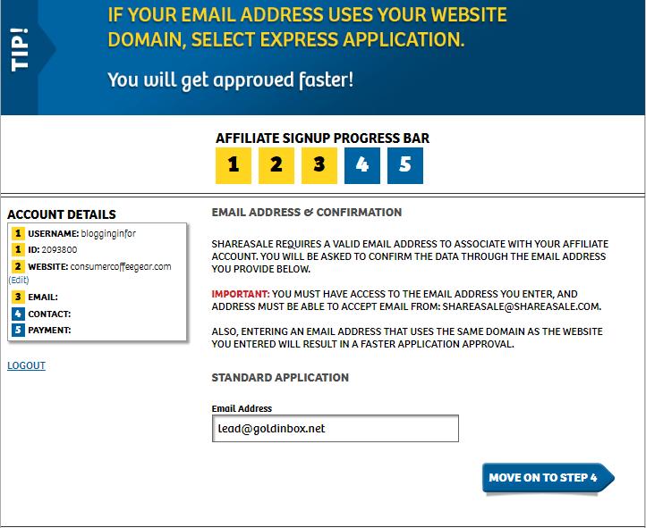 ShareASale registration