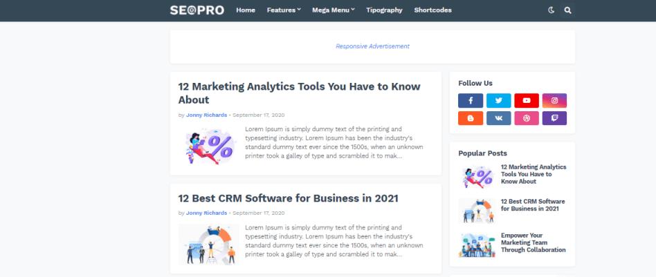 Seopro free blogger template