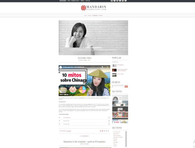 mandarin blogger free template
