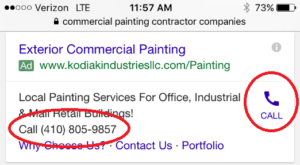 Google Adwords Call ad Extension