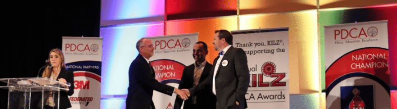 Josh Abramson accepting the PDCA's Humanitarian of the Year Award