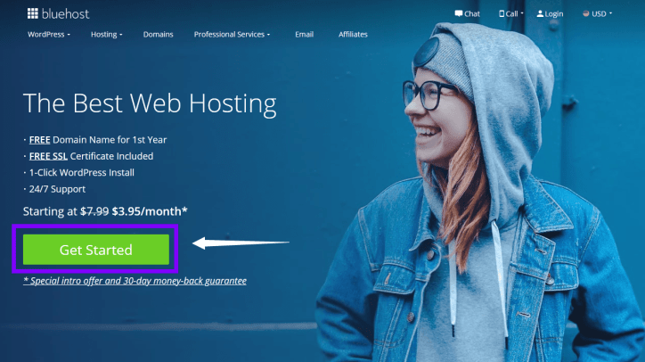 get started bluehost account