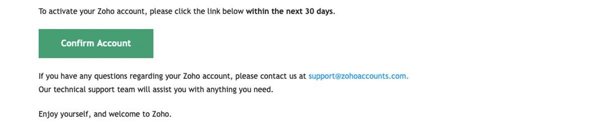 Confirm Account Zoho