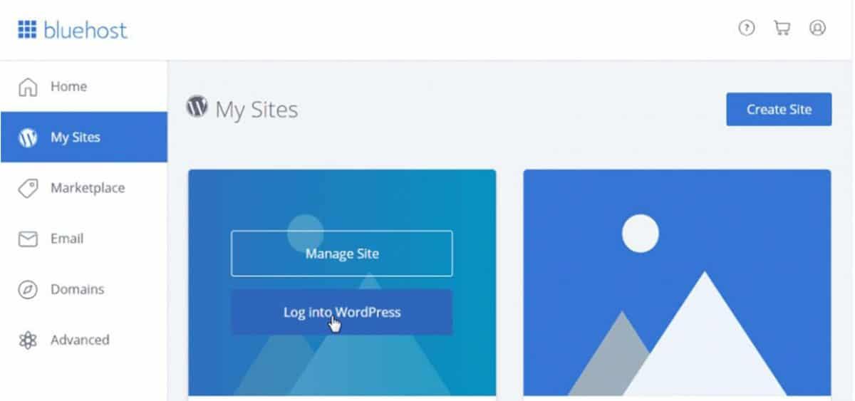 Create Site_Bluehost_WordPress
