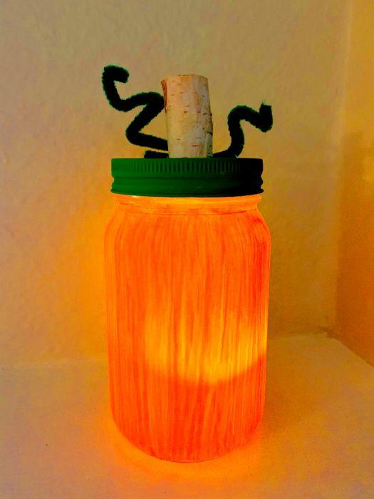 Halloween pumpkin mason jar