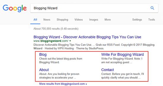 Blogging Wizard Sitelinks