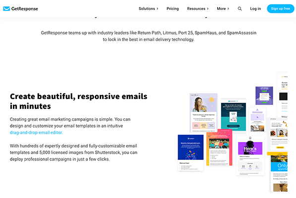GetResponse Email Marketing Templates Service Example